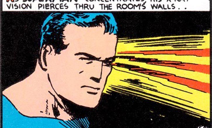 cartoon - superman concentrating x-ray vision through walls