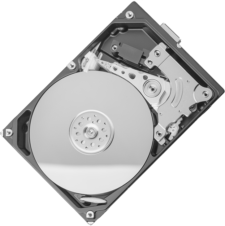 image of a hard drive rotated